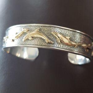 Kabana silver 14kt gold cuff